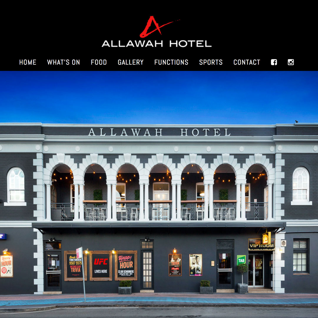 Allawah-Hotel Example of Cheeky Monkey Website Design Sydney Castle Hill