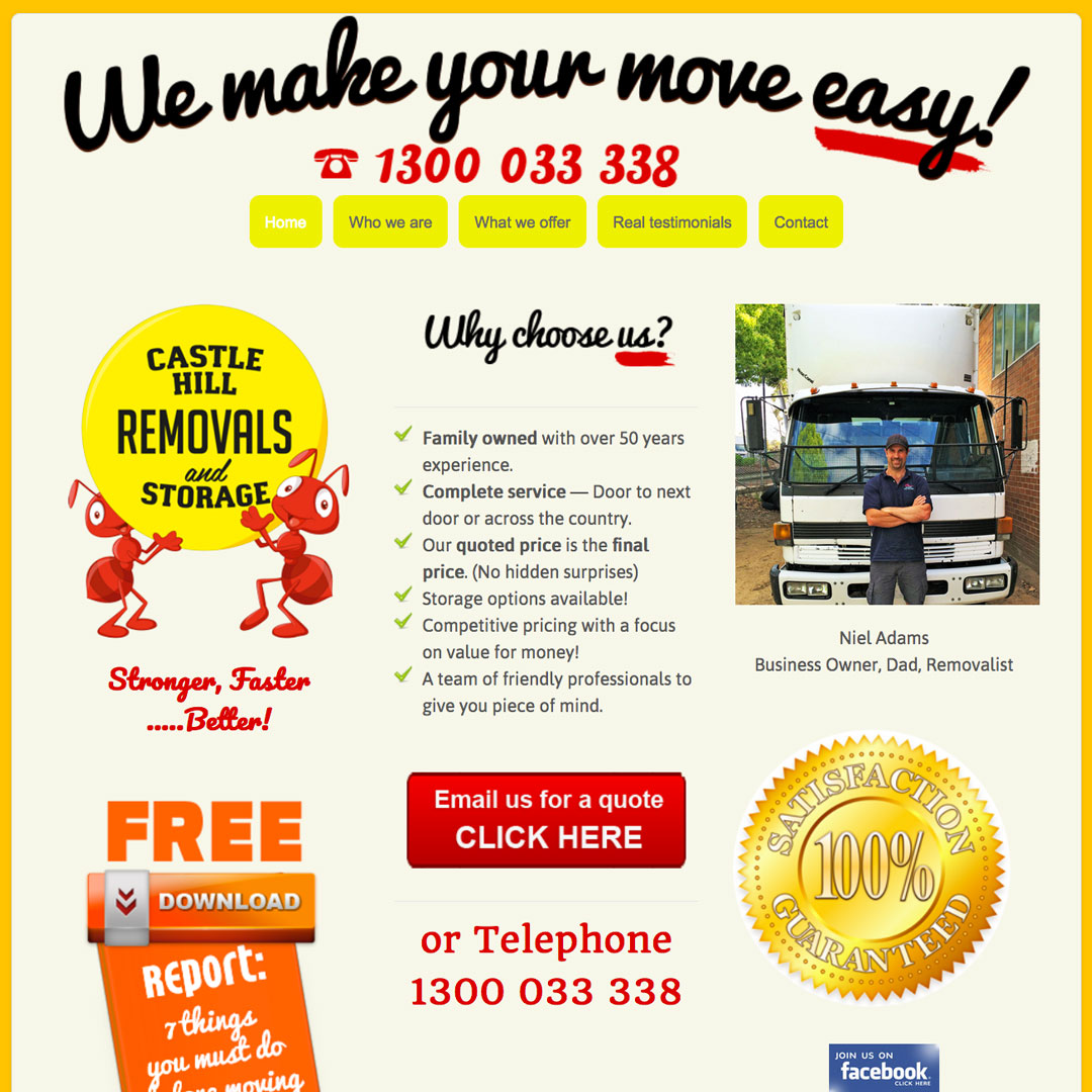 Castle-Hill-Removals Example of Cheeky Monkey Website Design Sydney Castle Hill