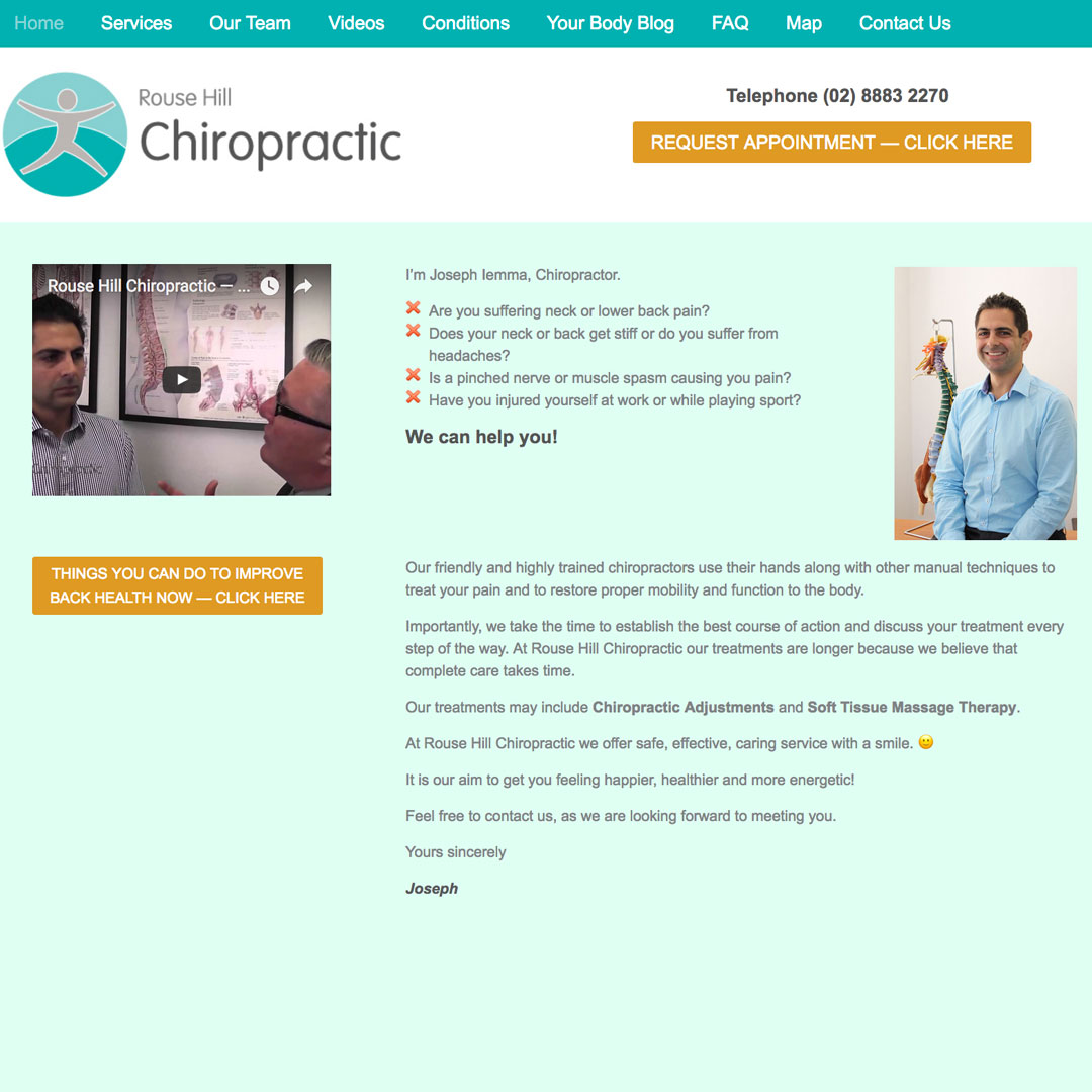 Rouse Hill Chiropractic Example of Cheeky Monkey Website Design Sydney Castle Hill