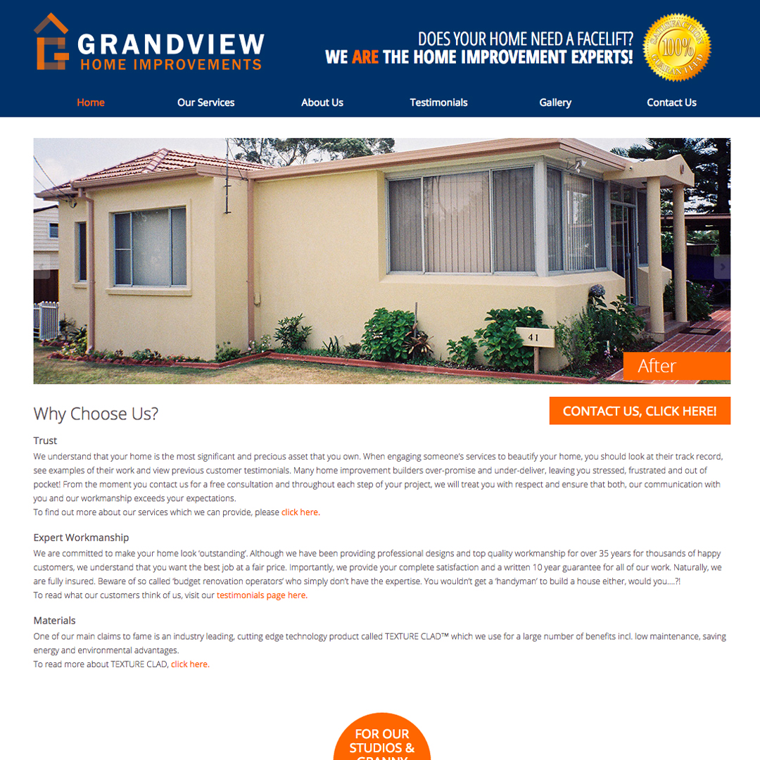 Grandview Example of Cheeky Monkey Website Design Sydney Castle Hill