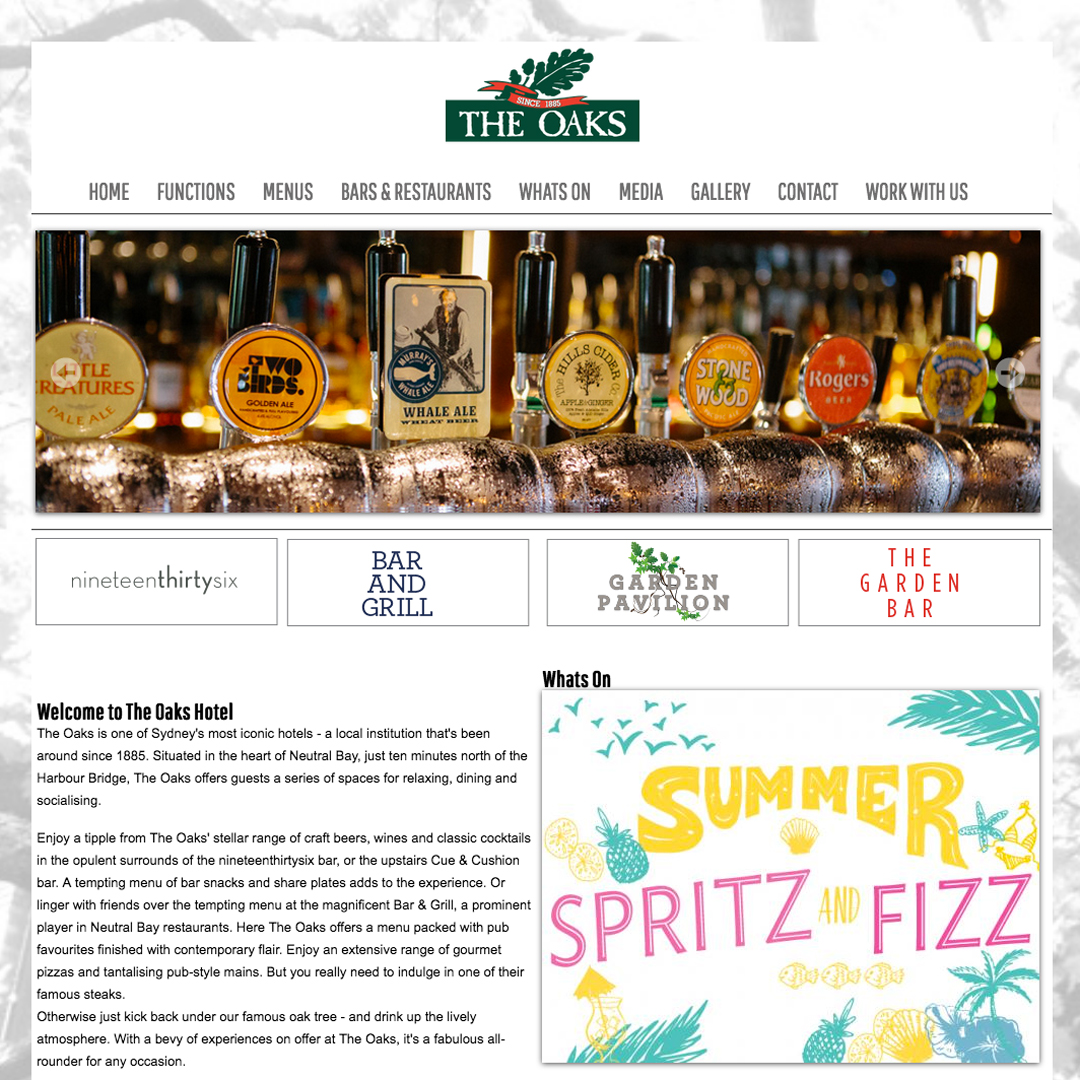 The-Oaks Example of Cheeky Monkey Website Design